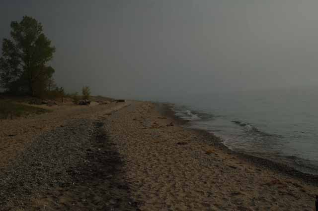 Point Betsie beach as the fog rolls in